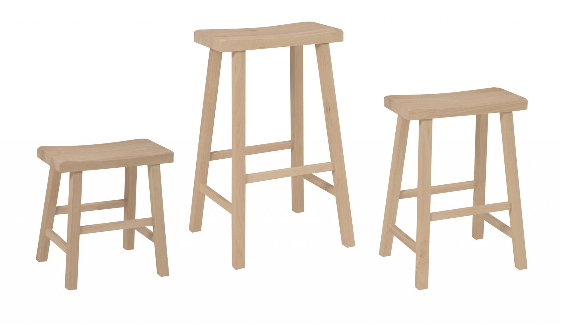 Solid Wood Saddle Seat Stool