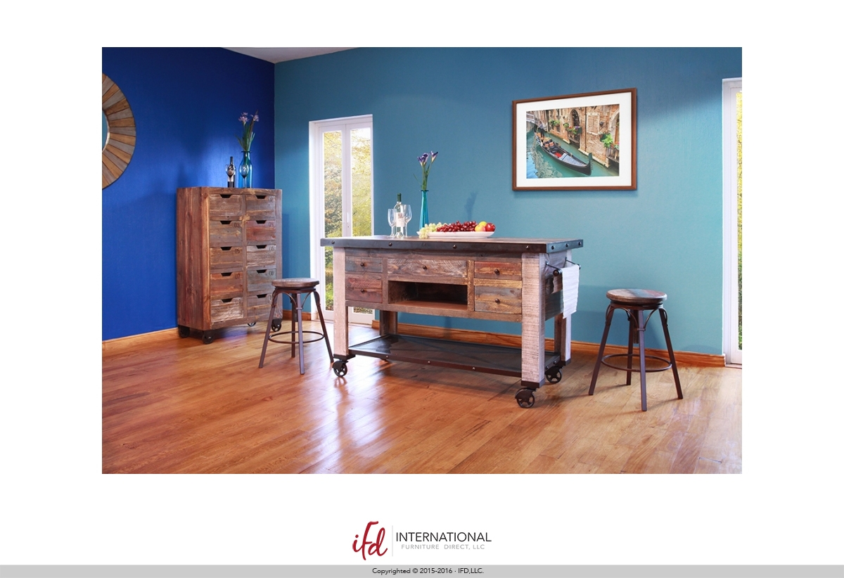 Reclaimed Multi-color Kitchen Island – IFD967ISLAND-MC |
