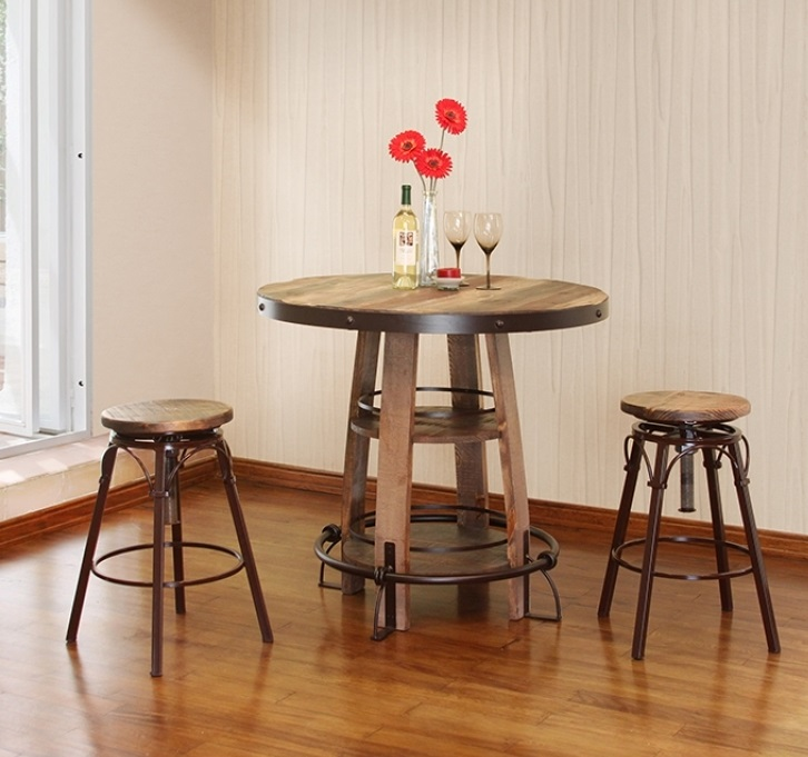 Reclaimed Wood Finish Bistro Table