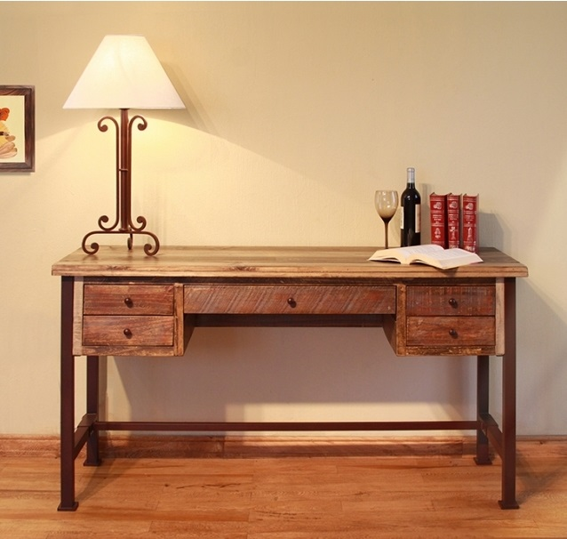 reclaimed wood finished writing desk