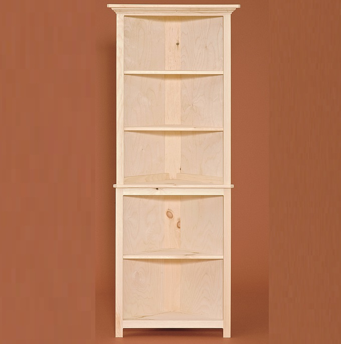 Unfinished Kitchen Cabinets Without Doors: Solid Pine Open Corner Cabinet