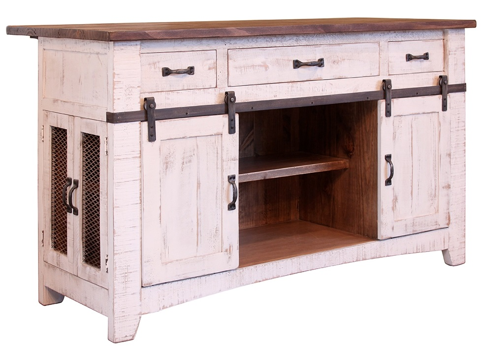 Pueblo White Kitchen Island - Cheap kitchen islands for sale