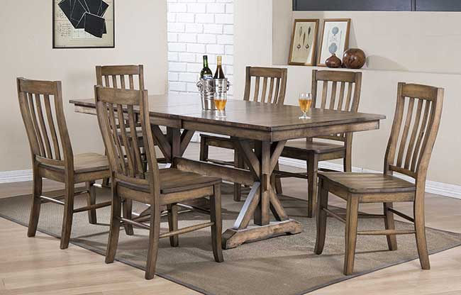 Carmel Collection Rustic Brown Dining Set, Rustic Dining Room Table